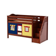 View Product - Low Bunk Bed with Staircase on End & Curtain in Chestnut finish
