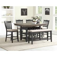 6PC High Dining- Balck/Grey
