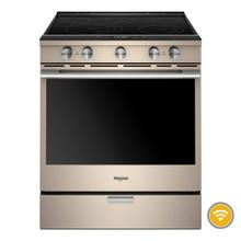 Whirlpool 6.4CF Sunset Bronze Smart Slide In Convection Range with Self Clean
