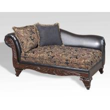See Details - Silas Ebony Wood Trimmed Chaise