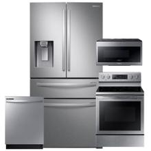See Details - SAMSUNG 28 cu. ft. 4-Door French Door Refrigerator with FlexZone Drawer 4 Pc Package- Open Box