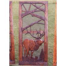 See Details - Handmade rustic wooden screen door featuring an elk.