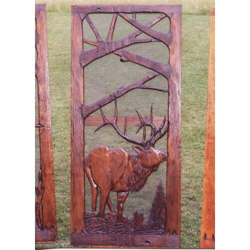 Handmade rustic wooden screen door featuring an elk.