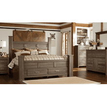 See Details - Ashley 4-Piece King Poster Bed with Storage
