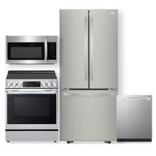 See Details - Stainless Steel 22 cu. ft. French Door Refrigerator & 6.3 cu. ft Smart Instaview Electric Slide-In Range with Air Fry- 4 Pc Package