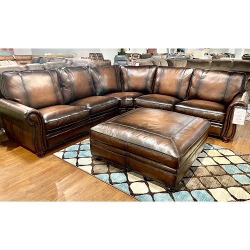 Simon Li Furniture - Top Grain Italian Leather Sectional AND Ottoman in Hillsboro Bomber Jacket