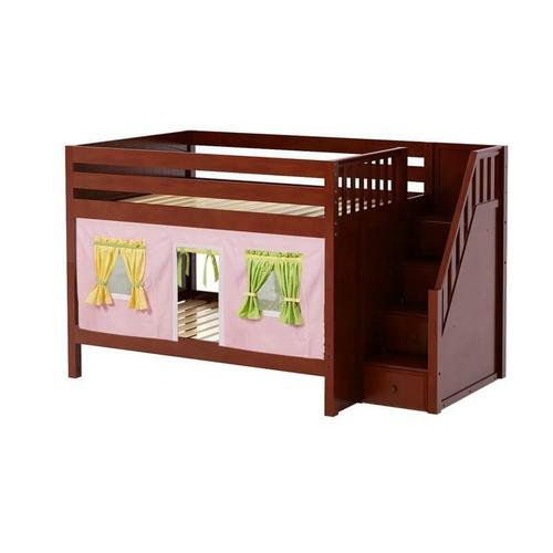 Low Bunk Bed with Staircase on End & Curtain In Chestnut Finish