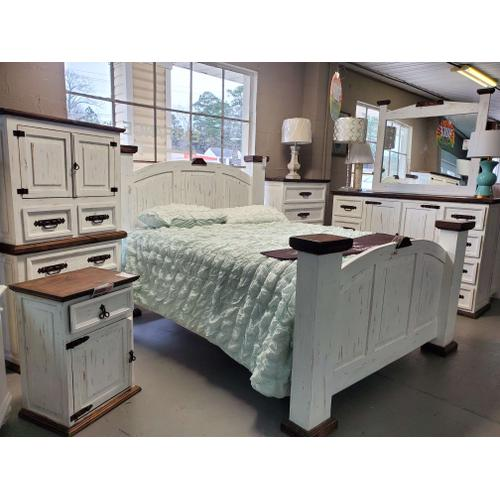 Rustic Canyon - White Distressed Mansion Queen or King Bed