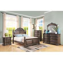 Larissa 6/6 EK Bedroom Set 4pc- (BED-DR-MR-NS) - Weathered Brown