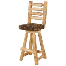 "RRP319  24"" Swivel Counterstool with Ladder Back & Upholstered Seat"
