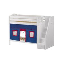 High Bunk Bed with Staircase on End & Curtain In White Finish