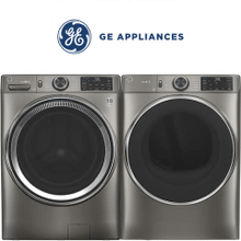 GE Front Load Pair In Satin Nickel