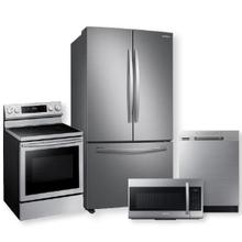 SAMSUNG 28 cu. ft. Large Capacity 3-Door French Door Refrigerator & Freestanding Electric Range Package- Open Box