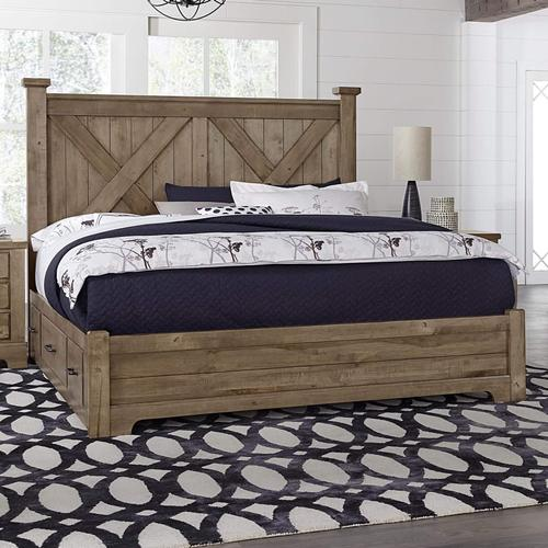 Vaughan-Bassett - Queen Cool Rustic Stone X Bed with Double Side Storage