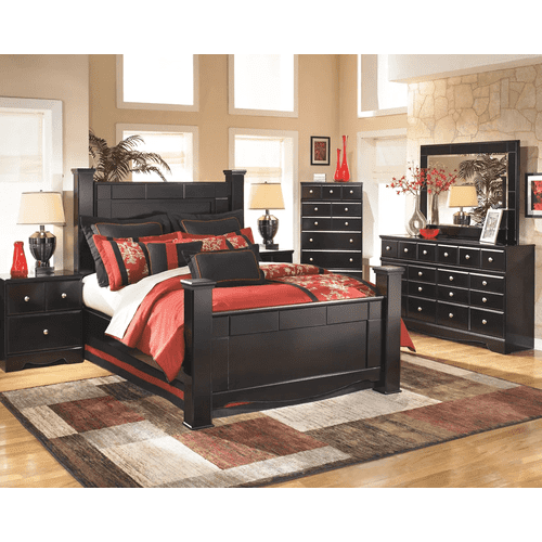 Shay- Almost Black- Dresser, Mirror, Chest, Nightstand & Queen Poster Bed