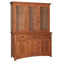 Transitional 3 Door China Hutch Touch Lighting