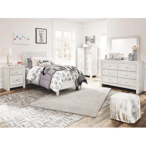Paxberry- Whitewash- Dresser, Mirror, Chest, Nightstand & Twin Panel Bed