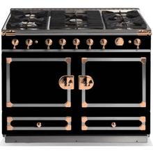 "View Product - CornuFe 110 cm Dual-Fuel Range (43"")- Gloss Black w/ Satin Chrome & Polished Copper Trim"