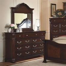 View Product - The Emilie  9 drawer Tudor Brown Dresser & Mirror