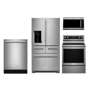 KitchenAid 4-piece Stainless Steel Appliance Package With Electric Range
