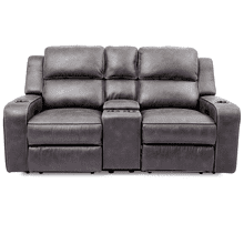 See Details - Luca Granite Power Loveseat with Console