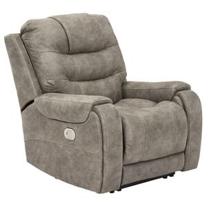 "Ashley 8200113 Power Recliner with Adjustable Headrest . 43"" x 39"" x 41"" in Yacolt Fog.  98%olyester, 2%U . CC:  W"