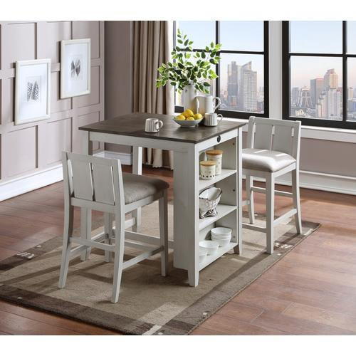 """Product Image - Heston 3-Piece 36"""" Counter Height Dining Set in White Finish"""