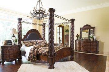 North Shore - King Poster Bed, Nightstand, Chest, Dresser and Mirror
