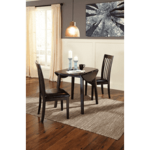 Hammis - Dark Brown - 3 Pc. - Round Drop Leaf Table & 2 Side Chairs