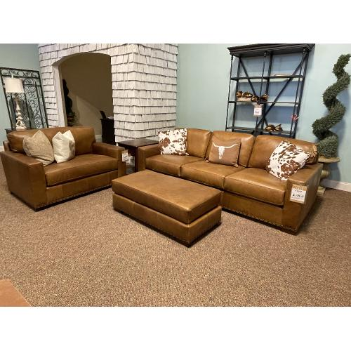 Bermuda Desert Leather Chair and Ottoman - NAT-8886L48/BECA Chair
