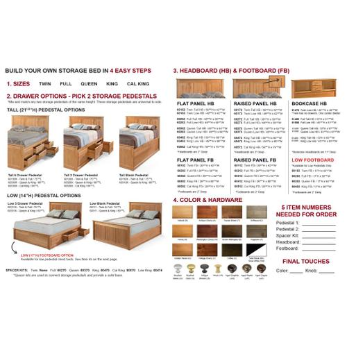 Storage Bed - Queen Low Profile Storage & Tall Footboard