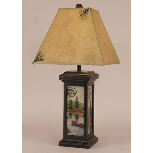 Coast Lamps - Small Square Pot w/ Canoe Scene Lamp