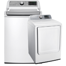 5.0 cu. ft. Large Capacity Smart wi-fi Enabled Top Load Washer & 7.4 cu. ft. Electric Dryer- Open Box
