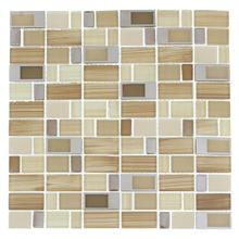 BLK03 Blends Glass Mosaic - BEIGE with Stainless Buckles