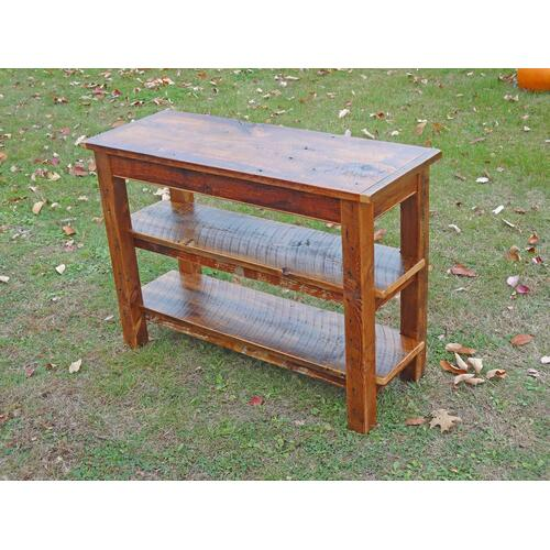 Cozy Creations Collection - Barn Board Side Table with 2 Shelves