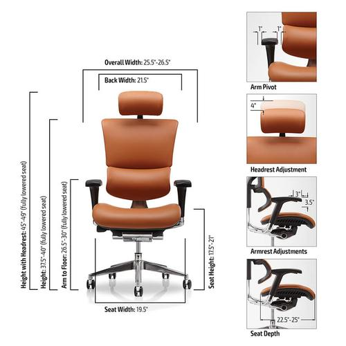 X2 Executive Desk Chair Red with Headrest
