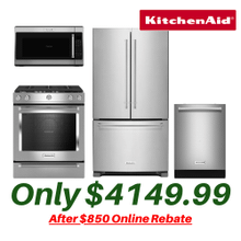 Kitchen Aid Kitchen Suite with Slide-in Convection Stove and Counter Depth Refrigerator