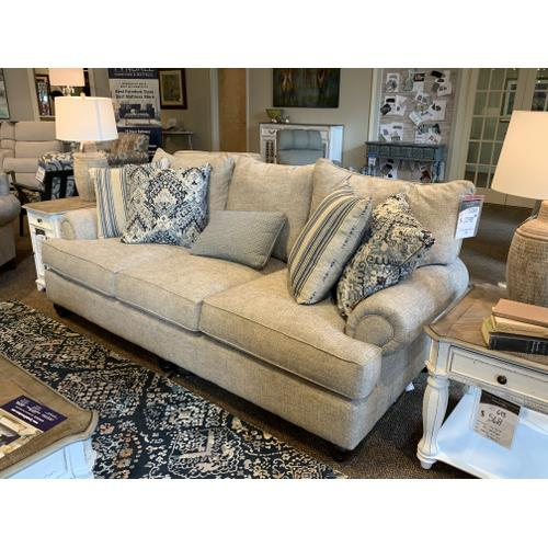 Overstuffed Sofa with Pillows and Matching Chair with Ottoman