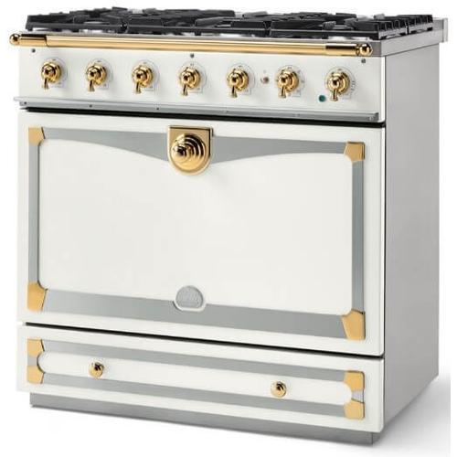 Lacornue Cornufe - Pure White Albertine 90 with Polished Brass Accents