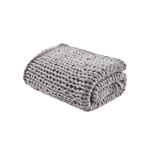 Handmade Grey Chunky Double Knit Throw (50w x 60l)