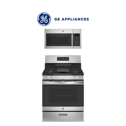 GE Gas Range & Over the Range Microwave 2 Piece Package