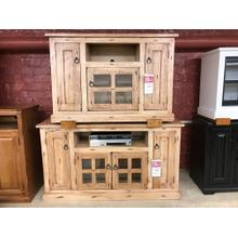 View Product - ID:196782 TV stands with a distressed raw wood appearance. Smaller one on top is 379, bottom larger one is 399.