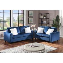See Details - Cinderella Blue Sofa and Loveseat 2pc Set - Blue Velvet