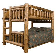 Cedar Log Full/Queen Bunk Bed-Ladder Left