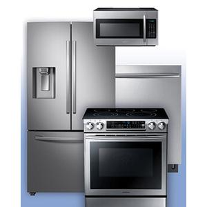 SAMSUNG - Get a Visa Reward Card for 10% off the purchase price of any Samsung 4-piece kitchen package. See French Door Refrigerator Electric Range Example.