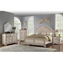 Anastasia King Bed, Dresser, Mirror, Chest and Nightstand