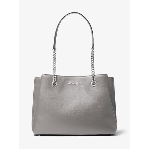 MICHAEL KORS Teagan Large Pebbled Leather Shoulder Bag - Pearl Grey