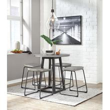 Showdell - Gray/Black - Round Counter Table and 4 Gray/Black Barstools