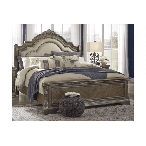 Charmond - Brown - King Upholstered Sleigh Bed