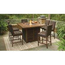 5 Piece Bar Table w/ Fire Pit & 4 Stools